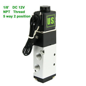 U s Solid 1 8 Pneumatic Electric Solenoid Valve 5 Way 2 Position Dc 12v Air
