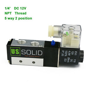 U s Solid 1 4 Pneumatic Electric Solenoid Valve 5 Way 2 Position Dc 12v Air
