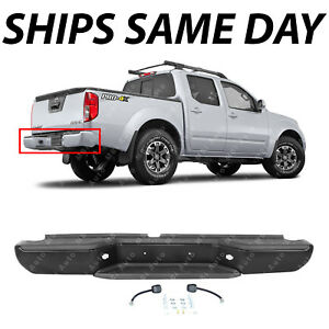 New Primed Black Complete Steel Rear Step Bumper For 2005 2016 Nissan Frontier