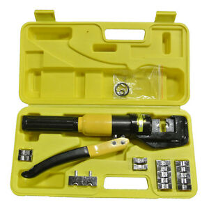 9 Dies Crimper Crimping Tool Battery Cable Line Wire Pliers Lug Terminal 10 Ton