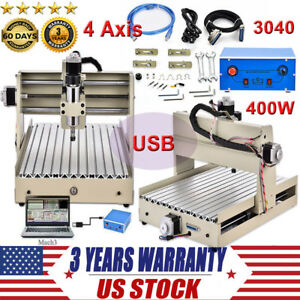 Diy 4 Axis Cnc 3040 Mill Router Usb Desktop Wood Engraver Milling Machine 400w