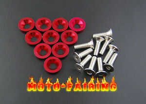 10pcs Red Fender Bumper Headlight Washer Kit 10mm Bolt Set For Acura Honda New M