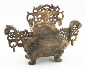 Antique Chinese Jade Phoenix Urn Incense Burner China Han Dynasty Style W Lid