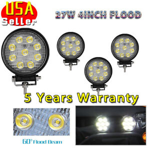 4x 4inch 27w Round Flood Led Work Light Fog Lamp Offroad Driving Suv Ute 4wd