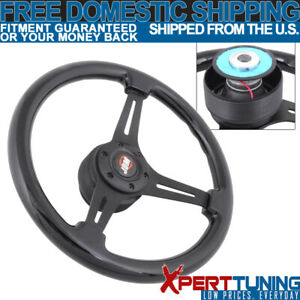 Fit Honda 350mm Wooden Black Trim Spokes Steering Wheel Hub Adaptor Jdm Badge