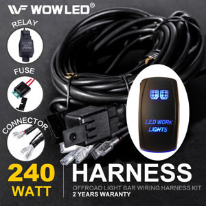 Waterproof Work Lights Rocker Switch Led Backlit Relay Wiring Harness Kit