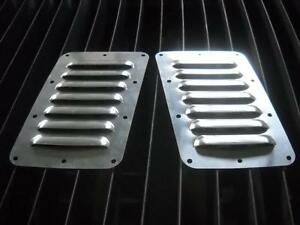 New Tilted Pair Of 7 5 Louvered Panels Hood Louvers Bolt on Style Vent Kit