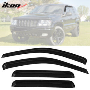 Fits 99 04 Jeep Grand Cherokee Acrylic Tape On Window Visors 4pc Set