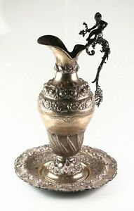 Antique Art Nouveau Cherub Repousse Silver Water Pitcher And Platter