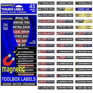 Blue Magnetic Toolbox Labels Fits All Tool Chest Cabinets Tag It Quick Easy
