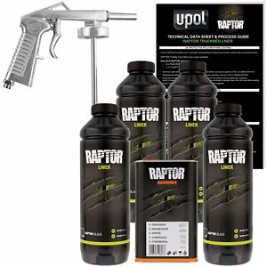 U Pol Raptor Up0820 Black Truck Bed Liner Kit 1 Spray Gun