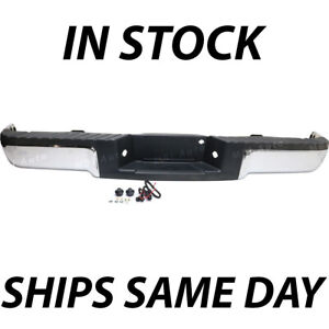 New Chrome Complete Rear Steel Bumper Assembly For 2009 2014 Ford F150 Truck