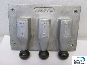 Appleton Electric Fs 1283 Cover 3 Gang Toggle Plunger Steel Iron