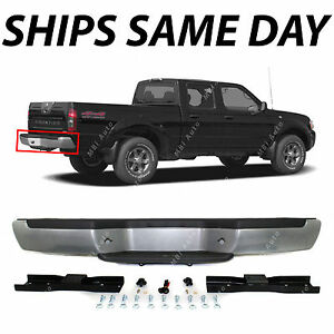 New Silver Steel Rear Step Bumper For 2001 2004 Nissan Frontier W Black Pads