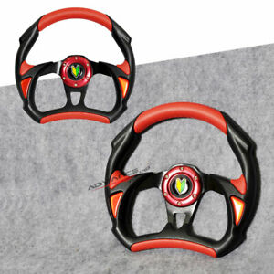 Universal Battle 320mm Black Red Pvc Leather 6 Hole Steering Wheel Horn