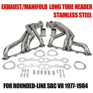 Exhaust manifold Stainless Steel Long Tube Header For Rounded line Sbc V8 77 84