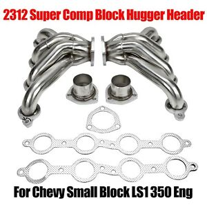 Fit For Chevy Ls1 350 Eng Exhaust Headers 2312 Super Comp Block Hugger Header