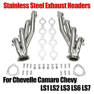 Stainless Steel Exhaust Headers For Chevelle Camaro Chevy Ls1 Ls2 Ls3 Ls6 Ls7