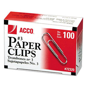 3 900 Acco 72320 Smooth Economy Paper Clips Metal Wire 3 Silver 100 bx