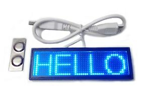 Blue Moving Scrolling Led Name Badge Tag Sign Display Programmable Message