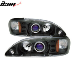 Fits 94 98 Ford Mustang 1pc Halo Projector Headlights Black