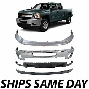 New Chrome Steel Front Bumper Kit For 2011 2014 Chevy Silverado 2500hd 3500hd