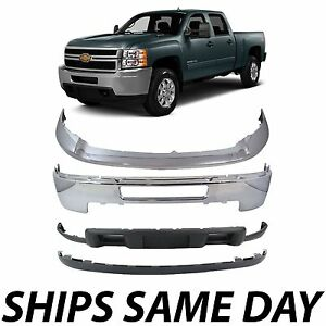 Chrome Steel Bumper Kit For 2011 2014 Chevy Silverado 2500hd 3500hd Without Fog