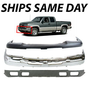 New Complete Steel Front Bumper Kit For 2003 2007 Silverado Avalanche With Fog