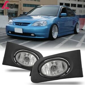 For 2001 2003 Honda Civic Fog Lights Wiring Switch And Bezels Clear Lens
