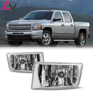 For Chevy Silverado 07 13 Clear Lens Pair Bumper Fog Light Lamp Oe Replacement