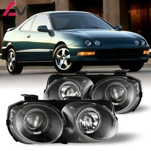 94 97 For Acura Integra Clear Lens Projector Halo Headlights Black Housing