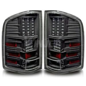Tail Light For 07 13 Chevy Silverado Glossy Black Housing Clear Lens Pair