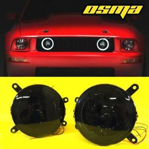 2005 2009 Ford Mustang Gt Hood Front Grille Led Halo Smoke Fog Lights Lamps Pair