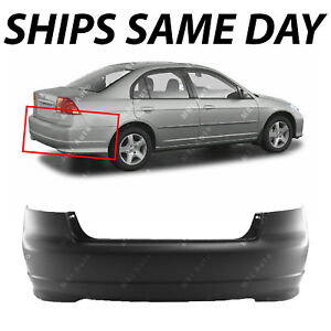 New Primered Rear Bumper Cover Replacement For 2004 2005 Honda Civic Sedan