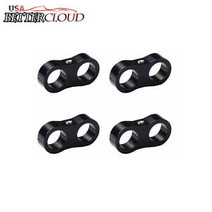 4pcs Black An10 Billet Oil Fuel Water Hose Turbo Separator Divider Clamp