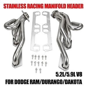 Stainless Racing Manifold Header For Dodge Ram durango dakota 5 2l 5 9l V8
