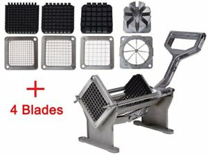 Potato French Fry Fruit Vegetable Commercial Cutter Slicer Cutting W 4 Blades Oh
