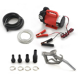 12v Portable Fuel Transfer Pump 10gpm Diesel Fuel Only Nozzle Kit