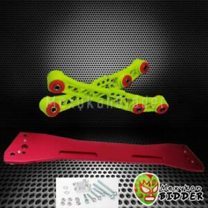 Hyper Yellow Rear Lower Control Arms Red Subframe Brace Honda Del Sol 93 97
