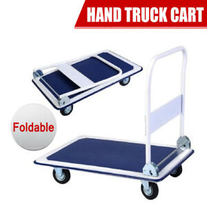 New Platform Cart Folding Dolly Moving Push Hand Truck Warehouse 660lbs Blue