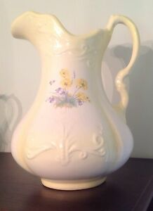 Large 11 5 Tall Vintage Antique Beautiful Wash Pitcher Pale Yellow Flowers