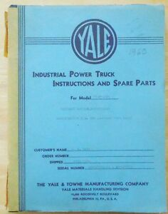 Vintage 1960 Yale Forklift Model G54p 4024 Maintenance Parts Manual