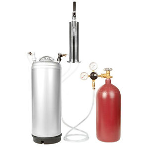 Stout Keg Kit 40 Cuft Nitrogen Tank Regulator 5 Gallon Ball Lock Keg Tower
