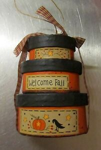 Primitive Country Mini Oval Nesting Boxes Welcome Fall Can Be Ornament 3 X 4