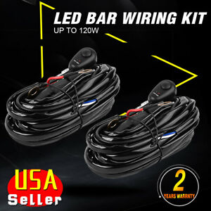 2x Power Switch Relay Wiring Harness Kit For Led Light Bar Off Road 18w 120w