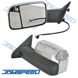 Pair Chrome Power Heated Towing Mirrors For 2009 15 Ram 1500 Pickup Signal Light