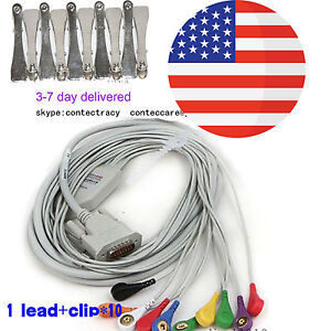 Snap Banana Type Ecg Ekg Machine Cable 12lead Wire Electrocardiograph clips usa