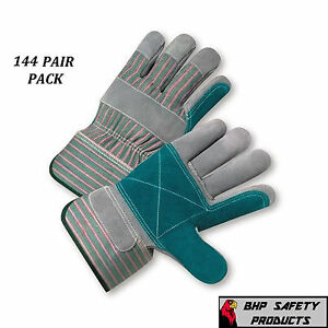 144 Pair West Chester Double Palm Split Leather Work Gloves Size Large 500dp