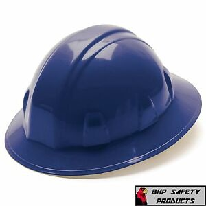 Pyramex Full Brim Safety Hard Hat Blue With 4 Pt Ratchet Construction 12 Hats