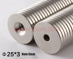 Wholesale 25 X 3 Hole 5mm N50 Round Countersunk Rare Earth Neodymium Magnets